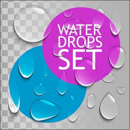 Transparant Pure Clear Water Drops Realistische Set. Klaar voor uw ontwerp. Vector illustratie geïsoleerd Stock Illustratie