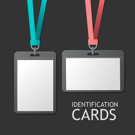 my name is: Badge Identification White Blank Plastic Id Cards Set. Isolated On Grey Background For Design And Branding. Vector Template For Name Tag With Lanyard.