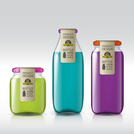 mermelada: Botellas realistas de vidrio para su diseño. Plantilla de frascos de vidrio ajustado. Jugo de Banco, mermelada, líquidos. Objetos aislados para el diseño de su producto. Vectores