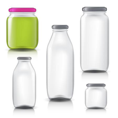 pote: imagen realeza de botellas de vidrio vacías transparente. objetos realistas sobre fondo aislado. bote para su diseño. botellas de vidrio para la leche, el jugo. Objetos aislados para el diseño de su producto.