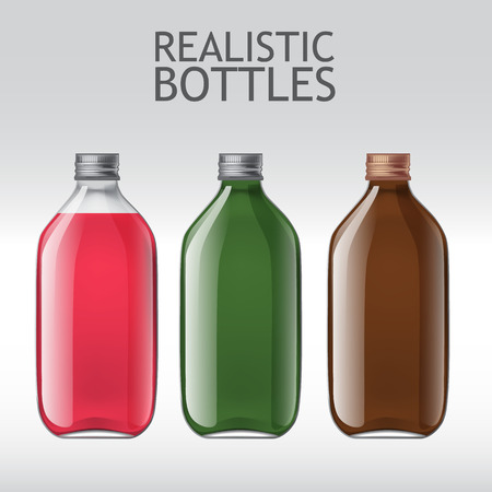 fluids: Set of different empty glass bottles. Template for design of bottles of milk, juice, yogurt, vinegar and any other liquid. Capacity for food and other fluids. Use for your design