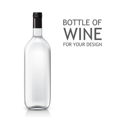 wine grape: Transparent realistic empty bottle of wine for your design. Bottle of alcohol. Vector template of a glass bottle.