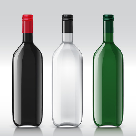wines: Set of transparent bottles for different wines. These templates are perfect for your design. Vector illustration