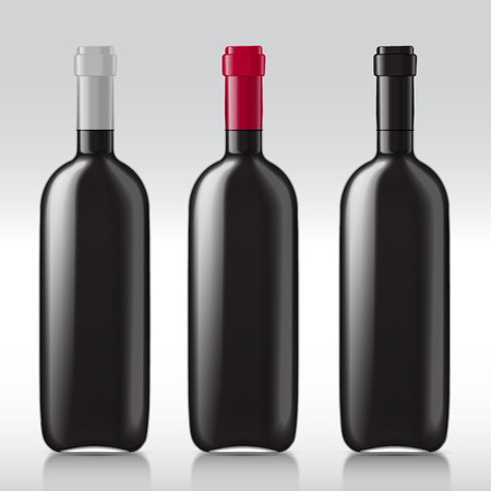 glass bottle: Patterns of black empty wine bottles. Set of realistic bottles ready for a sample of your design. Vector illustration.