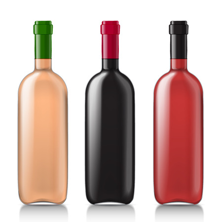 wines: Set of empty bottles of different wines. Use this template for your excellent design. Vector illustration Illustration