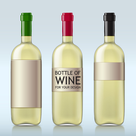 unopened: Different realistic glass bottles with white wine. This set of bottles with different covers closed ready for your design template. Vector illustration