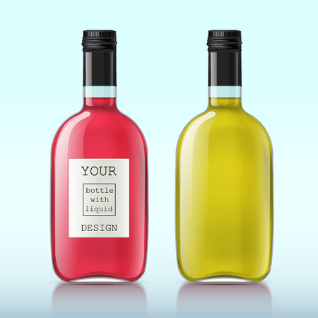 bouteille de vin: Bouteilles en verre transparentes réalistes. Ensemble de bouteilles avec un liquide, alcool, eau, sirop, etc. L'échantillon est parfait pour votre conception. Vector illustration.