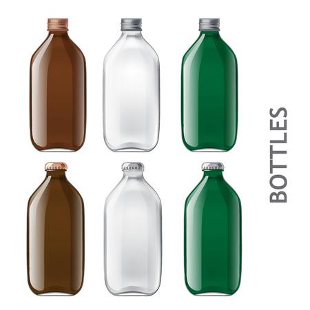 food packaging: Set of transparent bottles. Realistic empty bottles of colored glass are ready for your design. Vekornaya illustration.