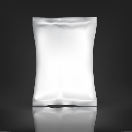 흰색 빈 포일 팩. 디자인 및 브랜드 플라스틱 팩 템플릿입니다. 칩, 향료, 커피, 소금, 및 기타 제품의 모형 호일 식품 스낵 팩. 플라스틱