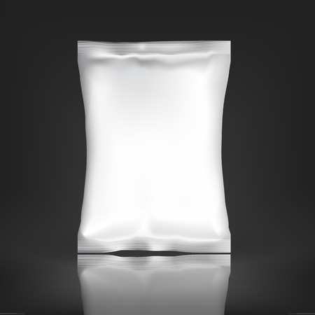 white paper bag: White Blank Foil pack . Plastic Pack Template for your design and branding. Mockup Foil Food Snack pack For Chips, Spices, Coffee, Salt, and other products. Plastic