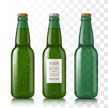 투명 한 유리 병입니다. 템플릿과 샘플 디자인을위한 사실적인 맥주 병을 설정하십시오. 모의 귀하의 디자인을위한 준비. 흰색 배경에 고립. 벡터 일러