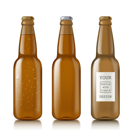 scalable: Empty glass bottles. Set realistic scalable brown closed bottle. Mock Up Template Ready For Your Design. Isolated On White Background. Vector illustration