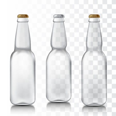 Transparent glass beer bottles. Set realistic patterns bottles are ready for your design. Mock Up Template Ready For Your Design. Isolated On White Background. Vector illustration