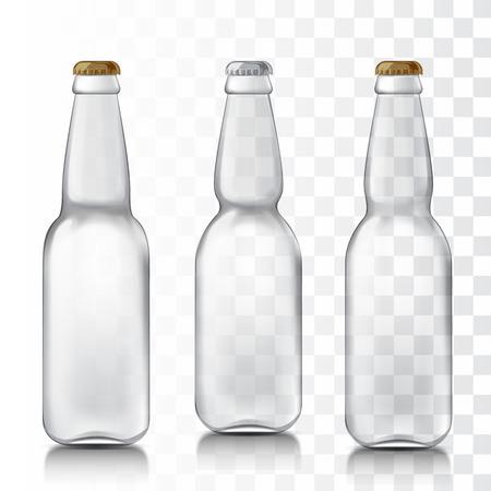 Transparante glazen bierflesjes. Stel realistische patronen flessen zijn klaar voor uw ontwerp. Mock Up Template klaar voor uw ontwerp. Geïsoleerd op een witte achtergrond. vector illustratie