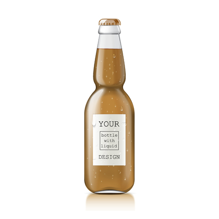 unopened: Glass beer bottle. Template bottle with water drops isolated on white background. Mock Up Template Ready For Your Design.  Vector Illustration Illustration