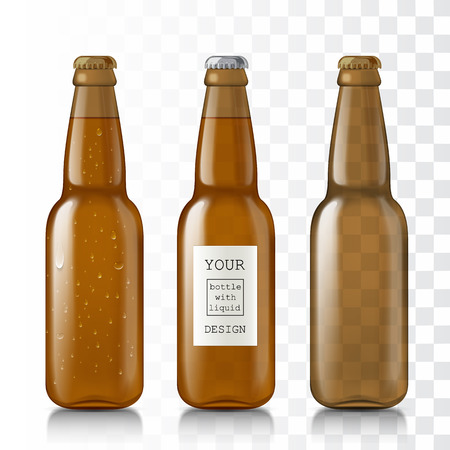 vivo: Templates realistic transparent bottles. Set of glass beer bottles with the sample design and water droplets. The bottles are closed and liquid - water vivo alcohol. Mock Up Ready For Your Design.