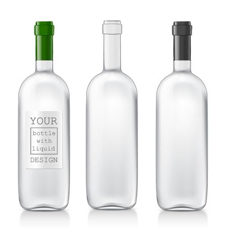Garrafas de vidro realistas transparentes para o vinho. Conjunto de garrafas de padrões realistas estão prontos para seu projeto. Mock Up Template Pronto Para Seu Projeto. Isolado No Fundo Branco. Ilustração vetorial