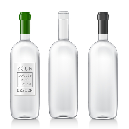 vino: Transparent realistic glass bottles for wine. Set realistic patterns bottles are ready for your design. Mock Up Template Ready For Your Design. Isolated On White Background. Vector illustration