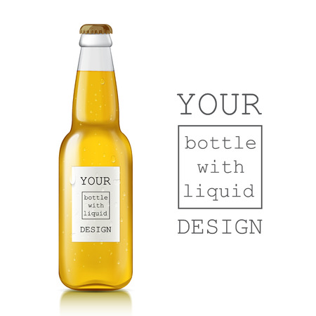 Template of glass beer bottles. Realistic clear bottle with highlights and liquid - beer, juice, water, soda. Place a sample of your design is ready. There are water droplets on the label and glass