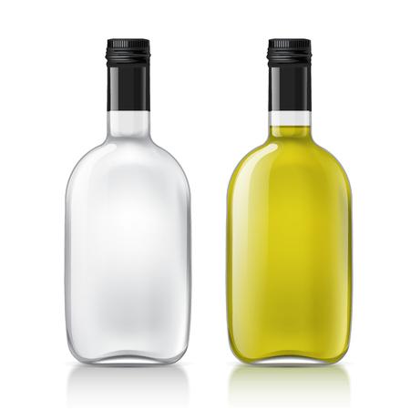 ebrio: Botellas de vidrio transparentes realistas. Conjunto de botellas con un l�quido, alcohol, agua, jarabe, etc. Excelente conjunto de objetos. Utilice esta plantilla botellas vac�as para su dise�o. Ilustraci�n del vector.