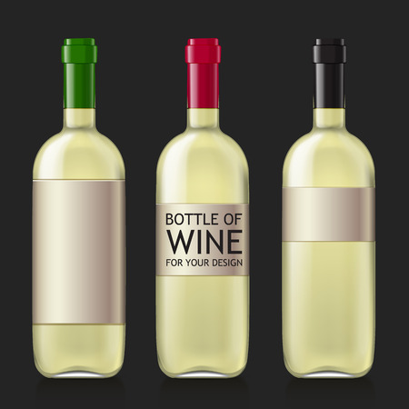 unopened: Transparent glass bottle. Set realistic glass bottles for wine.  Patterns of black empty wine bottles ready for a sample of your design. Mock Up Template. Vector illustration.