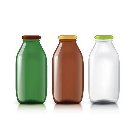 fluids: Set of transparent bottles. Template for design of bottles of milk, juice, yogurt, vinegar and any other liquid. Capacity for food and other fluids. Use for your design. Vector illustration.