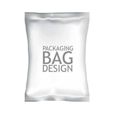 빈 샘플 현실적인 패키지로 제공된다. 화이트 패턴 볼륨, 식품 편집 패키지 - 그래서 칩, 크래커, 쿠키, 사탕, 견과류, 커피, 설탕. 디자인을위한 준비 모