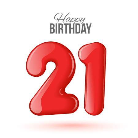 red banner: Sample greeting card to the 21 th anniversary. Air 3D red numbers from the figures. Invitation card to the party with balloons on a white background. Suitable for printing, web delivery, the jubilee