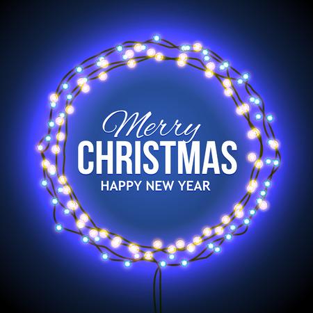 적합: 빛나는 불빛, 단어 메리 크리스마스 .. 겨울에 판매, 할인, 프로모션에 대한 배경과 파란색의 화환 프레임 라운드. 계절 광고. 인쇄, 메일 링에 적합 일러스트