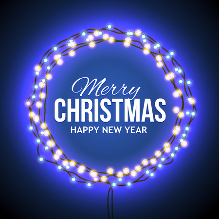 christmas lights: Round frame with glowing lights, garlands of blue with the words Merry Christmas.. Background on sale, discounts, promotions in the winter. Seasonal advertising. Suitable for printing, mailing