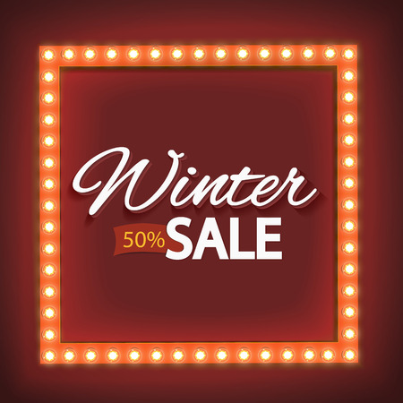 sign: Shining retro frame with lights, seasonal discounts. Realistic scalable with bright light bulb as a frame for text. Winter promotions, discounts and offers for your business. Volume label. Vector
