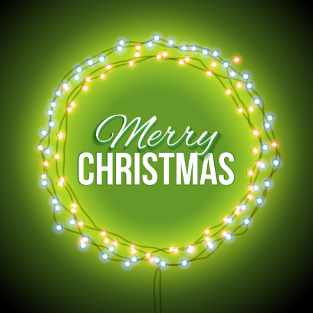 sale: Round frame with glowing lights, garlands of green with the words Merry Christmas.. Background on sale, discounts, promotions in the winter. Seasonal advertising. Suitable for printing, mailing