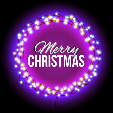 mailing: Christmas greetings in a circular frame of garlands. Round frame with glowing lights of rlilac. Background on sale, discounts, promotions. Seasonal advertising. Suitable for printing, mailing Illustration