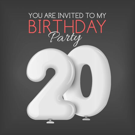 20th: Invitation card with balloons. The invitation to the party. Celebrating the 20th anniversary. Inflatable realistic 3D red balls in the form of numbers. Vector illustration