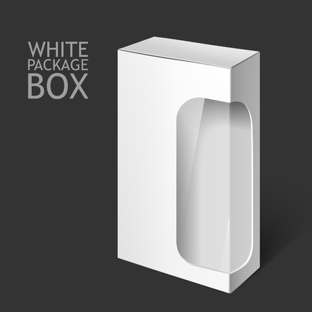 white window: Cardboard Package Box. Set Of White Package Square For Software, DVD, Electronic Device, Medical and Cosmetic Products with Window. Mock Up Template Ready For Your Design. Isolated On White Background