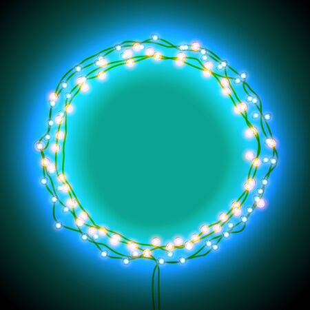 shining light: Round frame with glowing lights, garlands of red. Shining light banner. Background on sale, discounts, promotions in the winter. Seasonal advertising. Suitable for printing, mailing