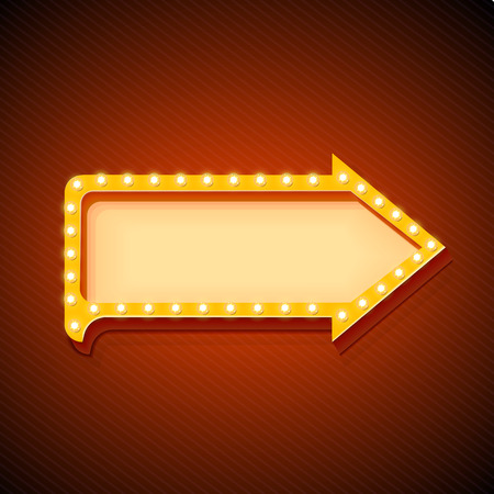 warm up: Retro arrow with glowing lights. volume frame. Realistic scalable with  3d volumetric icon on light bulb. Empty space for text. Winter promotions, discounts and offers for your business. Vector Illustration
