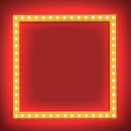 広場で現実的なレトロな電球。本文空白の電球で光る映画看板。テンプレート、広告、プロモーション、本文の 3 D の体積フレーム。ベクトル