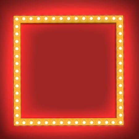 background light: Realistic Retro light Bulb in the Square. Glowing Cinema Signboard with Light Bulb with a Blank Space for Text. 3D Volumetric Frame for your Template, Advertising, Promotions, text. Vector