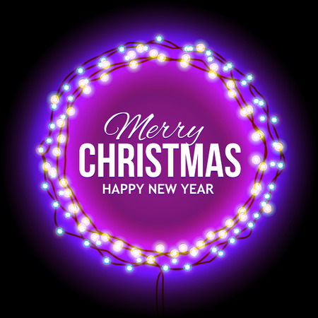 suitable: Round Frame with Glowing Lights, Garlands of with the words Merry Christmas.. Background on Sale, Discounts, Promotions in the Winter. Seasonal Advertising. Suitable for printing, mailing Illustration