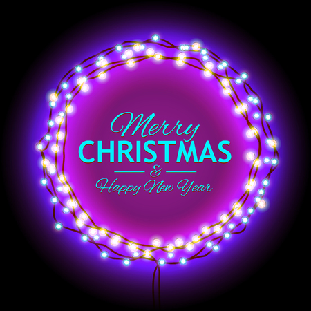 mailing: Round Frame with Glowing Lights, Garlands of with the words Merry Christmas.. Background on Sale, Discounts, Promotions in the Winter. Seasonal Advertising. Suitable for printing, mailing Illustration