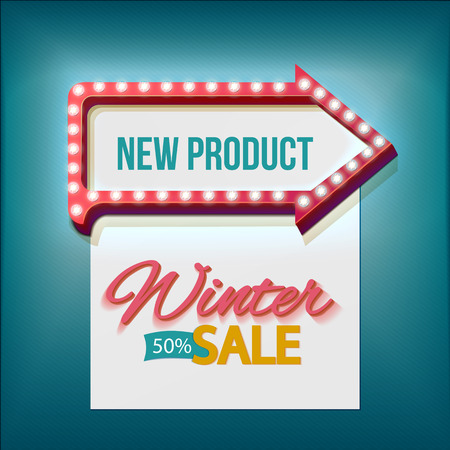 promotion: Retro arrow lights frame with Winter sale. Realistic scalable with  3d volumetric icon on light bulb. Empty space for text. Winter promotions, discounts and offers for your business. Vector Illustration
