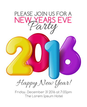 editable invitation: Invitation to the party of the year. Holiday card dedicated to the Christmas and New Year 2016. 3D numbers yellow, red, blue and purple colors, on a white background. Vector illustration Stock Photo