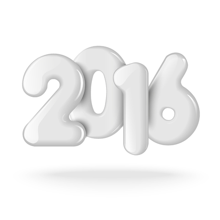 Realistic 3D numbers 2016. White figures on a white background. Design for greeting cards, advertisements, mailings, promotions, and other products. Vector