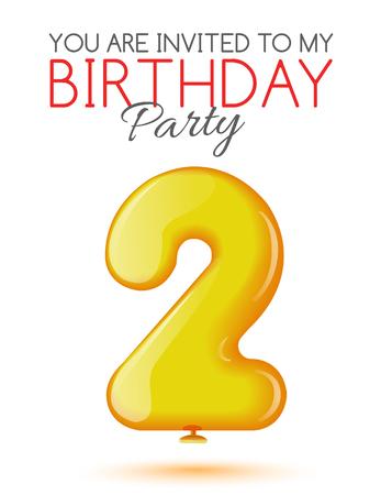 tarjeta de invitacion: Invitaci�n a la 2 � aniversario. Aire 3D bolas rojas de las figuras. Tarjeta de invitaci�n a la fiesta con globos en un fondo blanco. Adecuado para la impresi�n, publicaci�n en la Web, el jubileo. Vector