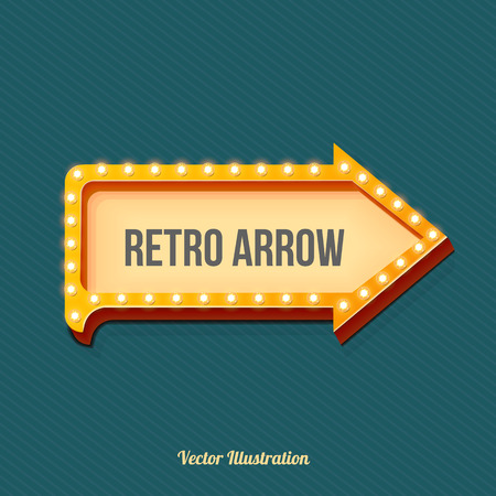 vegas sign: Retro arrow with glowing lights. volume frame. Realistic scalable with  3d volumetric icon on light bulb. Empty space for text. Winter promotions, discounts and offers for your business. Vector Illustration