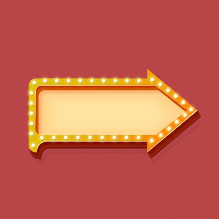 flechas: flecha retro con las luces brillantes. Marco de volumen. Realista escalable con el icono volum�trica 3d en la bombilla. El espacio vac�o para el texto. promociones de invierno, descuentos y ofertas para su negocio. Vector