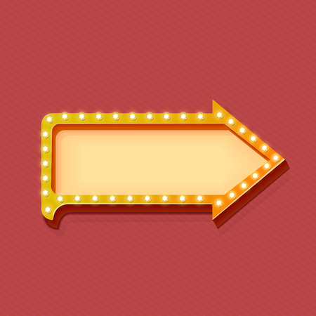 lights: Retro arrow with glowing lights. volume frame. Realistic scalable with  3d volumetric icon on light bulb. Empty space for text. Winter promotions, discounts and offers for your business. Vector Illustration