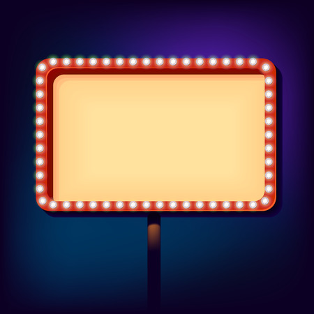 blank billboard: billboard in retro style with lights. Blank sign with lights in the night city. Clear place for your text vintage style. Vector illustration.