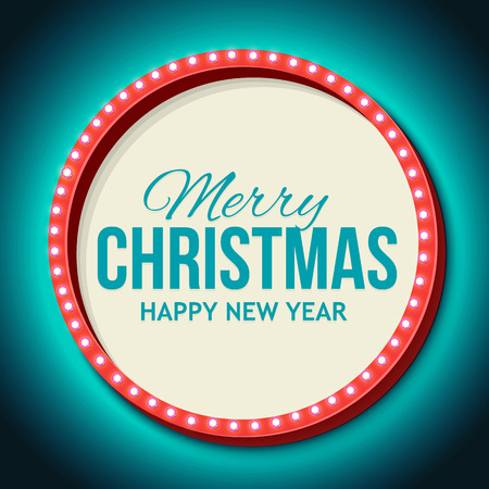 Night 3D sign neon lights with the words Merry Christmas. Retro frame with lights and empty place for your text. Vintage billboard on the night sky. Vector illustration